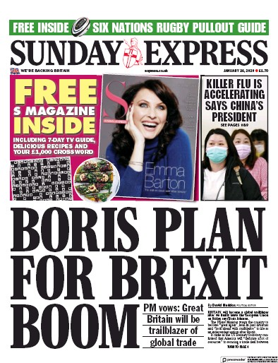 Daily Express Sunday Newspaper Front Page (UK) for 26 January 2020