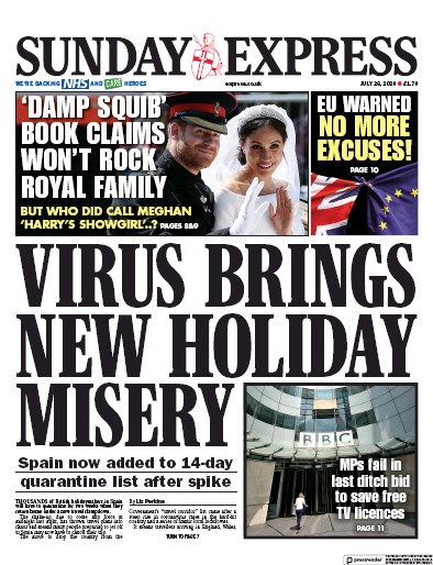Daily Express Sunday Newspaper Front Page (UK) for 26 July 2020