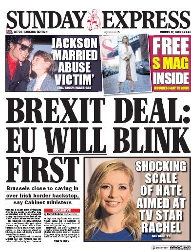 Daily Express Sunday Newspaper Front Page (UK) for 27 January 2019