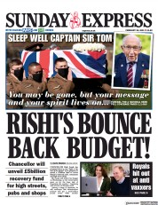 Daily Express Sunday front page for 28 February 2021