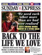 Daily Express Sunday (UK) Newspaper Front Page for 28 March 2021
