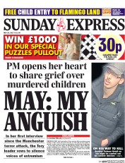 Daily Express Sunday (UK) Newspaper Front Page for 28 May 2017