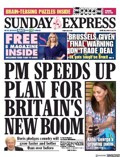 Daily Express Sunday Newspaper Front Page (UK) for 28 June 2020