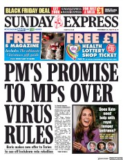 Daily Express Sunday front page for 29 November 2020