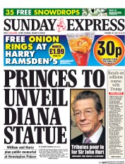 Daily Express Sunday (UK) Newspaper Front Page for 29 January 2017