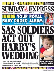 Daily Express Sunday (UK) Newspaper Front Page for 29 April 2018