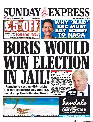 Daily Express Sunday Newspaper Front Page (UK) for 29 September 2019