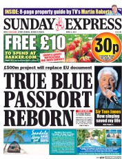 Daily Express Sunday (UK) Newspaper Front Page for 2 April 2017