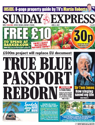 Daily Express Sunday Newspaper Front Page (UK) for 2 April 2017