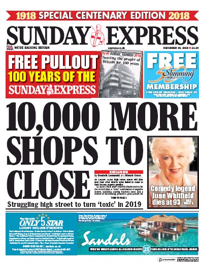 Daily Express Sunday Newspaper Front Page (UK) for 30 December 2018