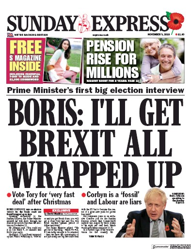 Daily Express Sunday Newspaper Front Page (UK) for 3 November 2019