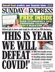 Daily Express Sunday front page for 3 January 2021