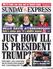 Daily Express Sunday front page for 4 October 2020