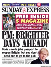 Daily Express Sunday front page for 4 April 2021
