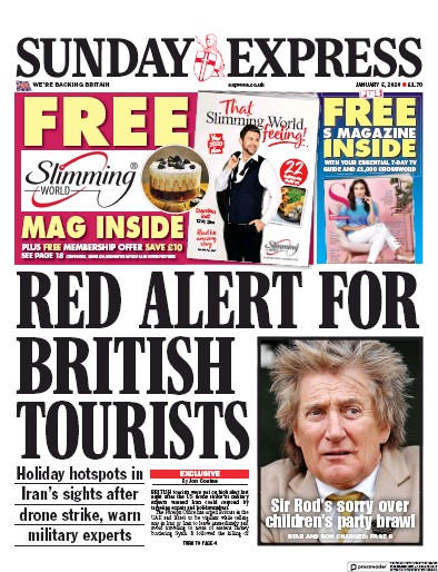 Daily Express Sunday Newspaper Front Page (UK) for 5 January 2020