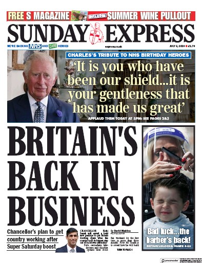 Daily Express Sunday Newspaper Front Page (UK) for 5 July 2020