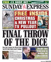 Daily Express Sunday front page for 6 December 2020