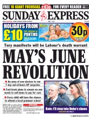 Daily Express Sunday (UK) Newspaper Front Page for 7 May 2017