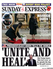 Daily Express Sunday front page for 8 November 2020