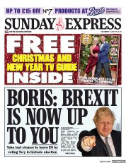 Daily Express Sunday () Newspaper Front Page for 8 December 2019