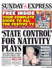 Daily Express Sunday (UK) Newspaper Front Page for 9 December 2018