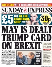 Daily Express Sunday (UK) Newspaper Front Page for 9 July 2017