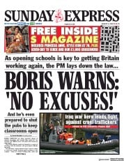 Daily Express Sunday front page for 9 August 2020