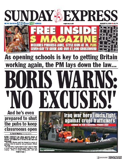 Daily Express Sunday Newspaper Front Page (UK) for 9 August 2020