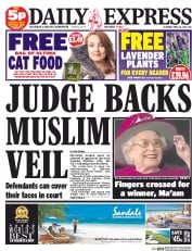 Daily Express Weekend (UK) Newspaper Front Page for 18 April 2015
