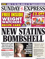 Daily Express Weekend (UK) Newspaper Front Page for 1 February 2015