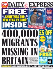 Daily Express Weekend (UK) Newspaper Front Page for 20 December 2014