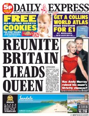 Daily Express Weekend (UK) Newspaper Front Page for 20 September 2014