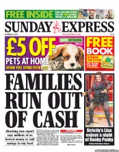 Daily Express Weekend Newspaper Front Page (UK) for 21 October 2012