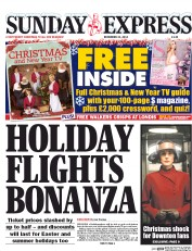 Daily Express Weekend (UK) Newspaper Front Page for 21 December 2014
