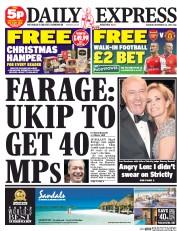 Daily Express Weekend (UK) Newspaper Front Page for 22 November 2014