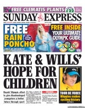 Daily Express Weekend Newspaper Front Page (UK) for 22 July 2012