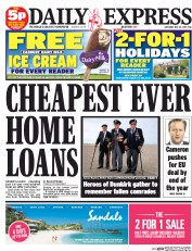 Daily Express Weekend (UK) Newspaper Front Page for 23 May 2015
