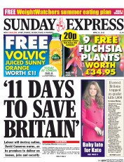 Daily Express Weekend (UK) Newspaper Front Page for 26 April 2015