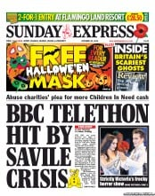 Daily Express Weekend Newspaper Front Page (UK) for 28 October 2012