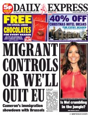 Daily Express Weekend (UK) Newspaper Front Page for 29 November 2014