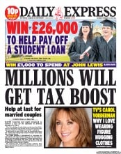 Daily Express Sunday () Newspaper Front Page for 2 February 2013