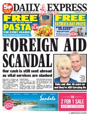 Daily Express Weekend (UK) Newspaper Front Page for 30 May 2015