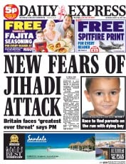 Daily Express Weekend (UK) Newspaper Front Page for 30 August 2014