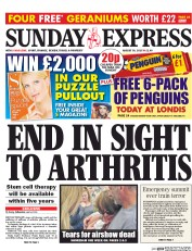 Daily Express Weekend (UK) Newspaper Front Page for 30 August 2015