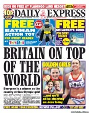 Daily Express Weekend Newspaper Front Page (UK) for 4 August 2012