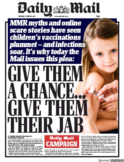 Daily Mail Newspaper Front Page (UK) for 10 October 2019