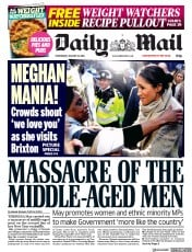 Daily Mail (UK) Newspaper Front Page for 10 January 2018
