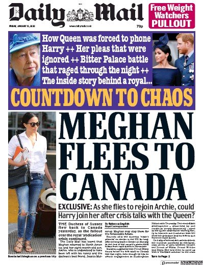 Daily Mail Newspaper Front Page (UK) for 10 January 2020