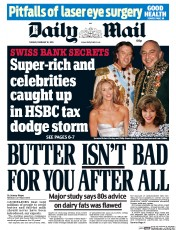 Daily Mail Newspaper Front Page (UK) for 10 February 2015