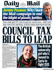 Daily Mail (UK) Newspaper Front Page for 10 February 2017